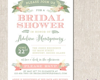 Floral, Rustic Wedding, Bridal Shower or Rehearsal Dinner Invitation - Printable or Printed Invitations