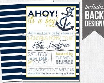 nautical baby shower invitation, baby boy, printable, custom