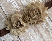 Tan and Brown Shabby Chic Flower Headband, Baby Headband, Toddler Headband, Girls Headband, Adult Headband, Flower Girl Accessory, Bow