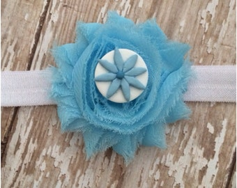 Baby Blue Shabby Chic Flower Headband, Baby Headband, Toddler Headband, Girls Headband, Photo Prop