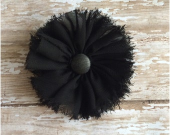 Black Frayed Chiffon Flower Hair Clip, Black Flower Alligator Clip, Girls Hair Bow, Hair Clip, Barrette, Flower Girl Accessory, Bridesmaid