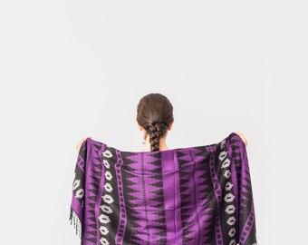 Aztec Scarf Women Scarf Man Scarf Winter Scarf Purple Scarf Thick Scarf Tribal Scarf men scarf ,fashion accessory ,women scarf