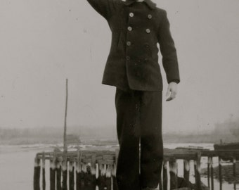 Cute 1940's US Coast Guard Man Says Have You Seen My Gal Funny Snapshot Photograph - Free Shipping