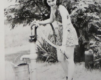 Woman At The Well - 1940's Bathing Beauty Pumps The Water Snapshot Photo - Free Shipping
