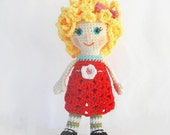 Amigurumi Doll Crochet Pattern, Girl Doll Pattern, Crochet Toy Girl Pattern, PDF Amigurumi Patterns: Doll with Curly hair and Dress