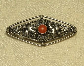 Vintage Art Nouveau Deco era sterling floral leaf berries red salmon coral pin brooch possibly Hobe