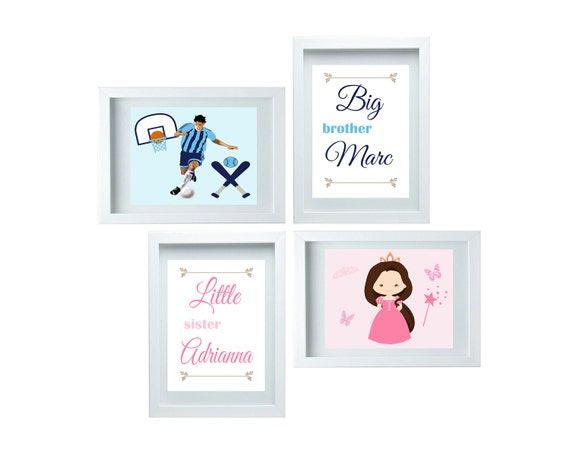 Big Brother Little Sister Set Boys Or Girl Bathroom Decor Cute