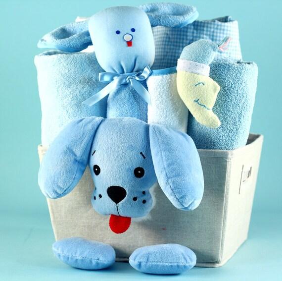 Baby Gift Basket Etsy : Puppy plush baby gift basket
