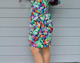 Pat Crowley Floral Wiggle Mini Dress Silk Ireland's Original Couture Designer / S/ M