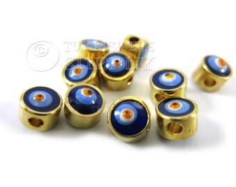 10 Pc Mini Evil Eye Spacer Beads, 22K Gold Plated Brass Slider Beads, Gold Spacer Bead, Good Luck Charms with Evil Eye