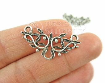 2 pc Silver Connector, Antique Silver Plated Plated Pendant, Turkish Jewelry