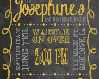 Rubber Duck Birthday Invitation - Chalkboard Rubber Ducky invitation - Rubber Duck theme available for shower and gender parties too
