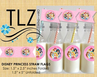 Disney Princess Straw Flags - Instant Download Printable Digital File