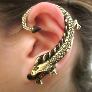Mystic asian dragon ear cuff earring - gothic dragon jewelry