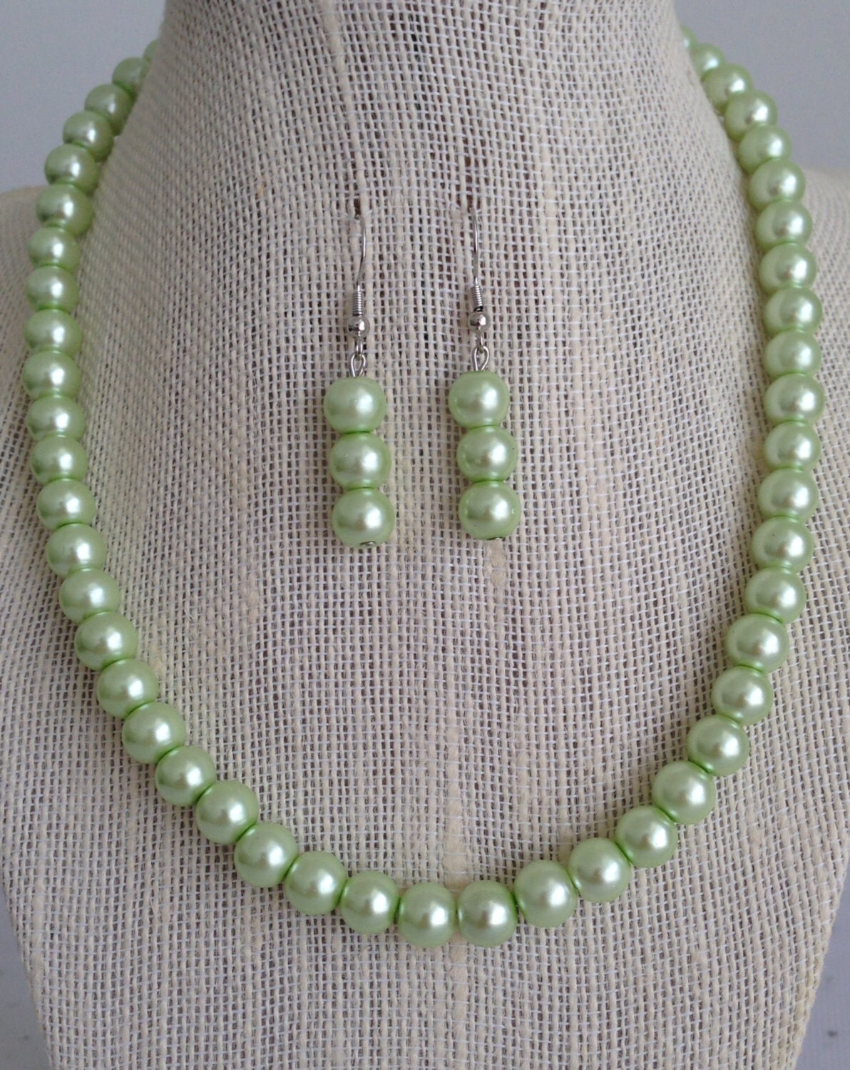 light green pearl beaded necklace green bridal necklace