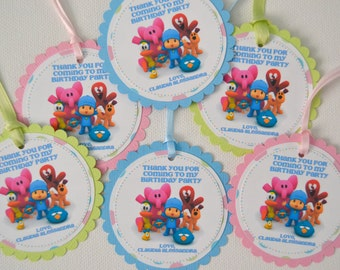 Pocoyo Favor Tags (Pastel Colors), Set of 12