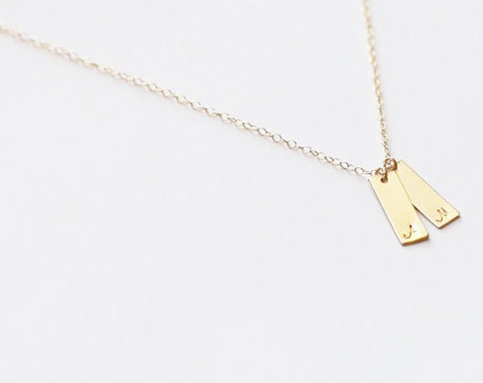 Mini Drop Bar Necklace - Personalized name plate necklace, vertical bar necklace // Gift for her  EP018