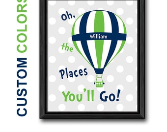 hot air ballon travel kids room art, inspirational boy wall art dr seuss PRINT or CANVAS, motivational kids playroom decor, oh the places