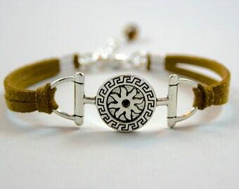 Pick Color / Size Sun Fire Bracelet Faux Suede Leather Cord  Bracelet - Sun Fire Charm Bracelet - Aztec Design  L4