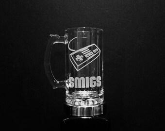 Nintendo Controller Mug - PERSONALIZED NES Nintendo Mug - Geeky Glass Nintendo Mug - DEEP Etched Gaming Mug