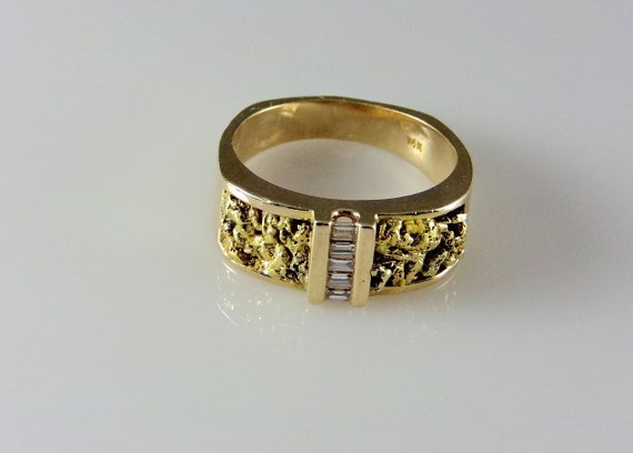 items similar to mens gold nugget with diamonds ring 14k