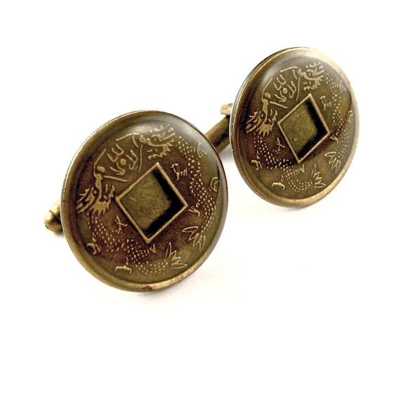 Chinese coin cufflinks feng shui good luck coins in resin - Feng shui good luck coins ...