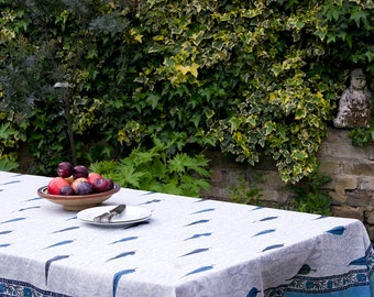 TABLECLOTH FINE COTTON Sky blue cypress trees on an off white pattern with sea blue border block printed rectangle