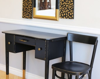SOLD Order Custom Black And Gold Shabby Chic Vanity Table With Gold Leopard  Accents