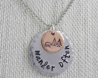 Wanderlust, Wanderlust Necklace,Travel Necklace, Wanderer, Bear Necklace, Travel Jewelry, Outdoor Necklace, Wander Often, Moon Necklace