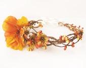 Fall flower crown, Autumn wedding hair accessories, Floral headband, Rustic hair wreath - GLOW