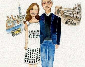 Custom wedding illustration , personalized gift, customized family, custom portrait , custom portrait with nice background.