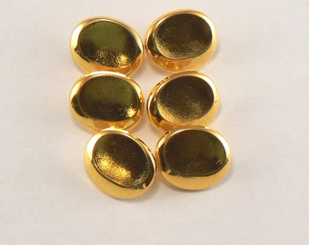 6 - 16 mm Gold Plastic Oval Shank Buttons - Bright Gold Sewing Buttons - Gold Craft Buttons  #GP-16-28