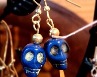 Royal blue skull earrings