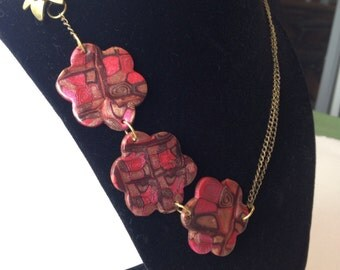 Flower necklace for women, pink and bronze, handmade, polymer clay, statement ooak jewelry, stocking stuffer for her