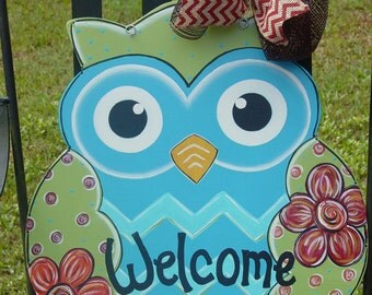 Welcome OWL Wood Door Hanger Wall Decor with Flowers Fall Decorations