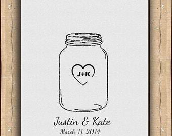 Wedding Guestbook Alternative Mason Jar Thumbprint Signature Holder / Guest Sign Poster