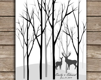 Enchanted Forest ThumbPrint Signature Wedding Tree Guest Book Alternative / Gift / Trees with Couple Silhouette or Deer