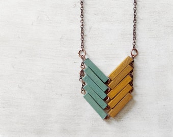 Wood Geometric Necklace // AUSTRALIA // Minimal Jewelry // Mint // Yellow // Mustard // Hand-Painted Necklace // Modern Necklaces // Chevron