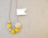 Statement Necklace 210 . Yellow Natural White . Wood . Crosses Dots Geometric . oz au australia wandarrah etsyau