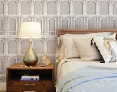 Classic Architecture Beige Peel & Stick Fabric Wallpaper Repositionable