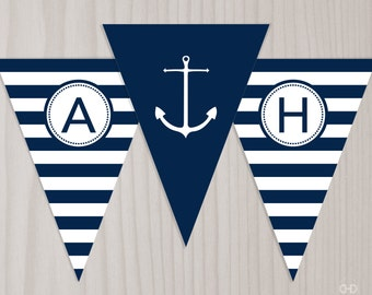 Preppy Nautical Baby Shower Banner, INSTANT DOWNLOAD Printable PDF Ahoy It's a Boy, Anchor Banner, Bunting Flags, Navy Blue and White