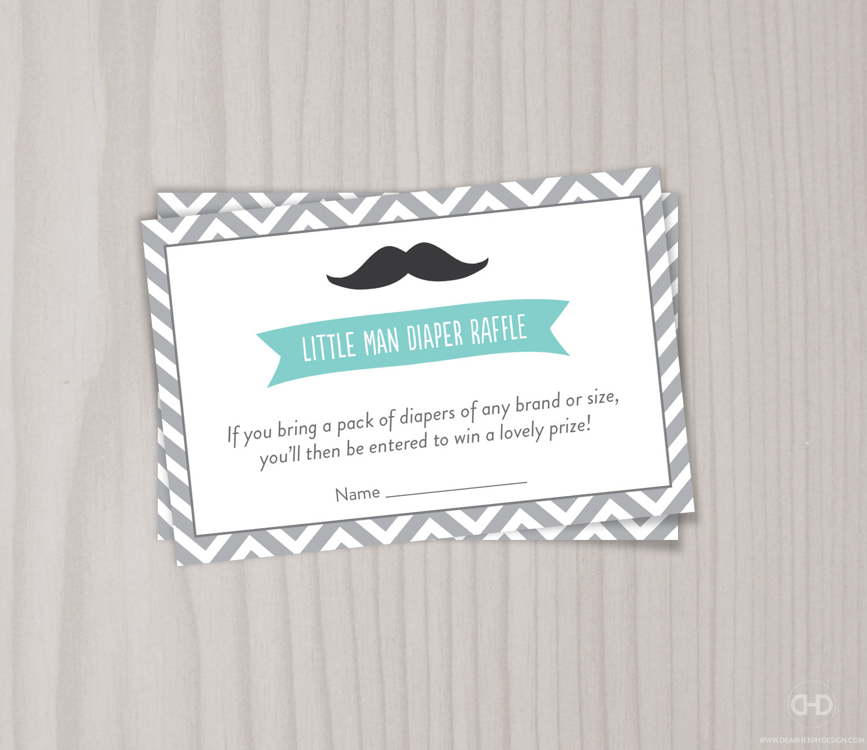 Diaper Raffle Ticket Little Man Baby Shower Game Little Man