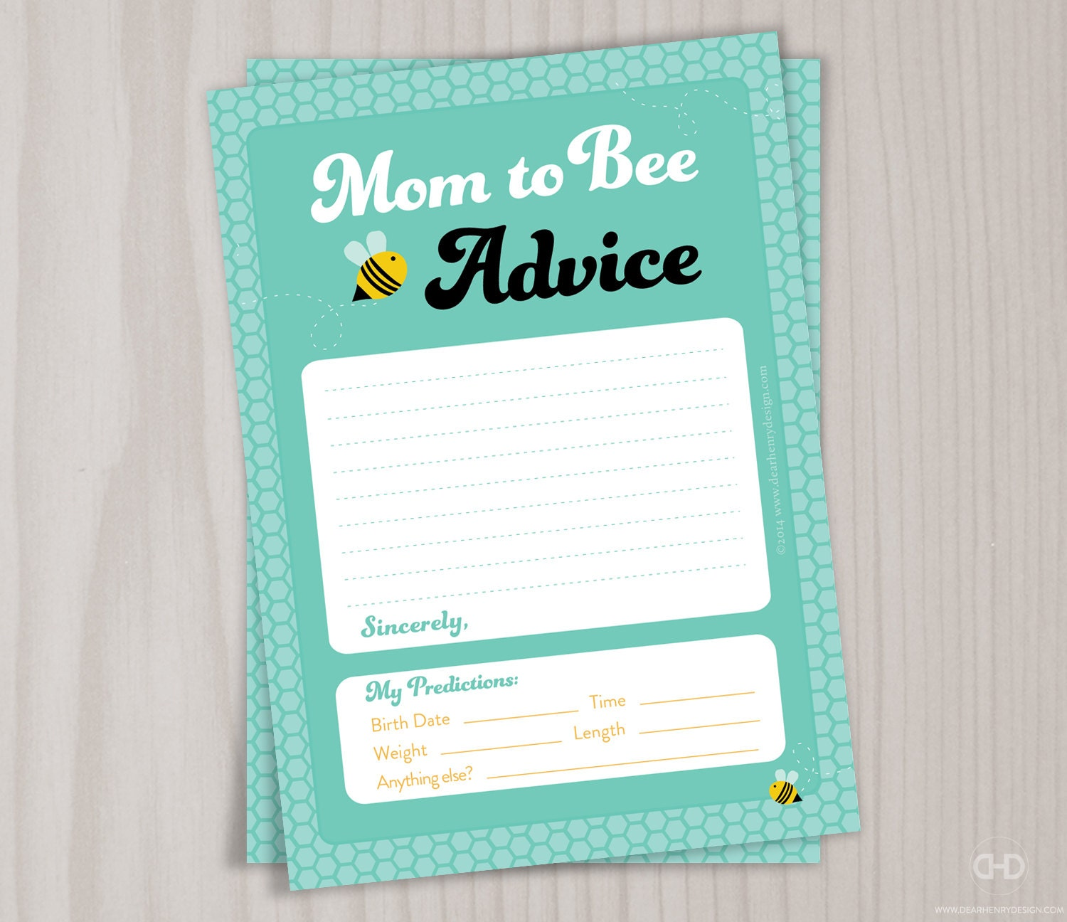 Mother To BEE Baby Shower Prediction Card Mommy To BEE