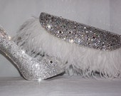 Swarovski Crystal Pumps, Bridal heels, Rhinestone bridal shoes, Wedding shoes, bridal purse, Prom, Pageant, Evening shoes and clutch