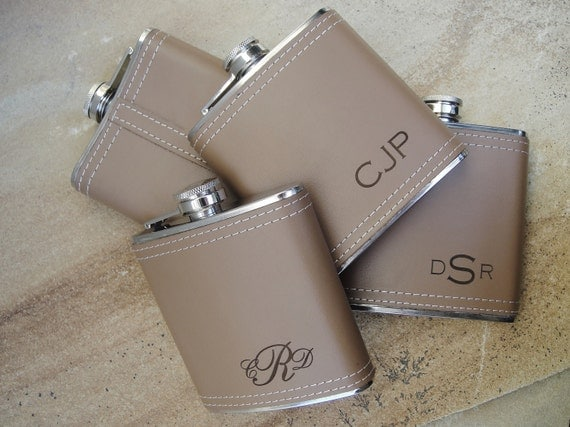Personalized Flask, Leather Flasks, Custom Engraved Flask, Hip Flask, Quantity Discounts: Groomsmen, Bachelors, Bridesmaid, Fathers Day