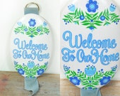 Vintage 70s Folk Art Inspired Welcome To Our Home Sign Plaque Art Wall Hanging Retro Blue Green