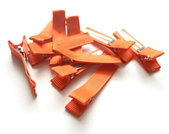 10 Partially Lined Clips - Orange