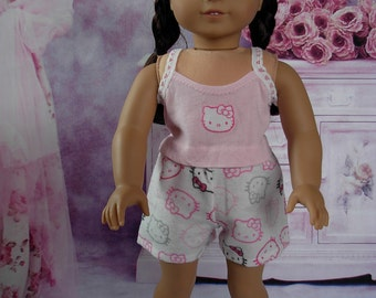 Two Piece Kitty PJs fits American Girl Doll and 18 inch dolls