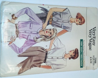 Very Easy Very Vogue 7288 Vintage Blouse Pattern from 1988 in Sizes 6 8 10 presented by Donellensvintage