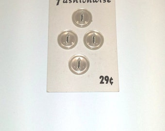 Vintage Buttons/ Fashionwise Buttons/ Buttons on Card/ White Pearl Buttons/ Collectible Buttons
